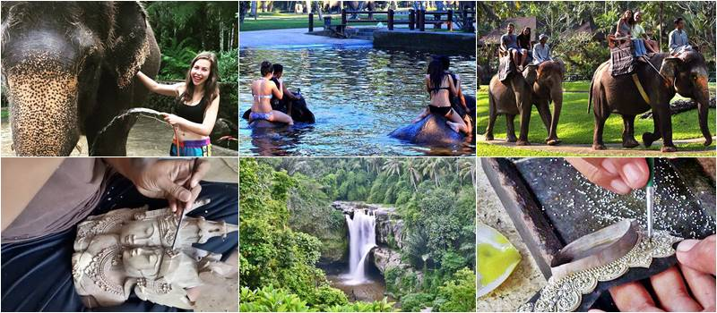 Bali Bathing Elephant + Ubud Artisan Village Tour
